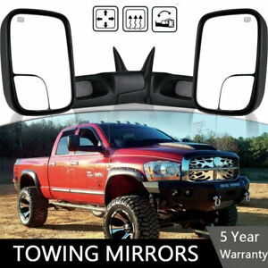 Latest Style Tow Mirrors Fits 98 02 Dodge Ram 2500 3500 Power Heated Manual Fold