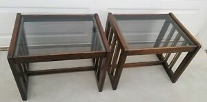 Mid Century 70s Milo Baughman Style Walnut W Chrome Smoked Glass Top End Tables