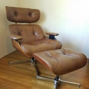 Charlton Vintage Eames Style Plycraft Lounge Chair Ottoman Camel Brown Chrome
