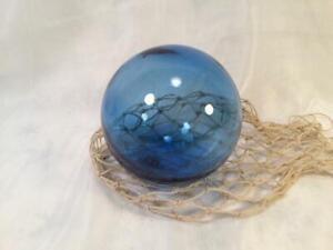 Vintage Blue Glass Round Fishing Float 4 Across With Fish Net