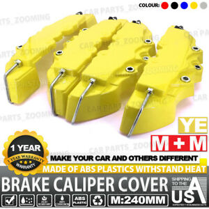 4x 240mm Yellow 3d Brake Caliper Covers Style Disc Universal Car Front Rear Kits