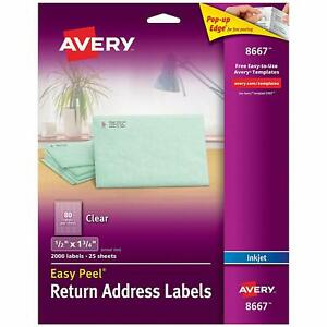 Avery Matte Frosted Clear Return Address Labels 1 2 X 1 3 4 2 000 Labels