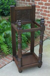 Antique English Oak Gothic Umbrella Cane Stick Stand Hall Tree Entry Foyer Stand