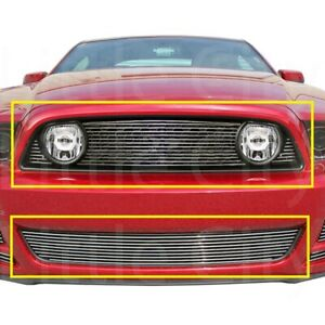 For Ford Mustang Gt Coupe 2013 2014 Upper Bumper Combo Billet Grille Grill