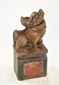Antique Chinese Red Gilt Wood Carving Carved Statue Fu Foo Dog Lion 19th C