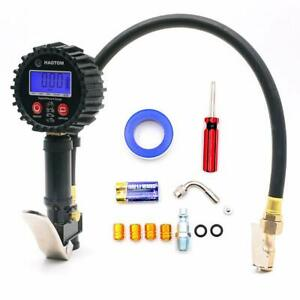 Digital Tire Inflator Hose With Pressure Gauge 0 200 Psi 1 4 Npt Quick Connect