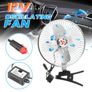Portable 8 12v Car Truck Fan Vehicle Rv Dc Cooler Osciliating Auto Air Cooling