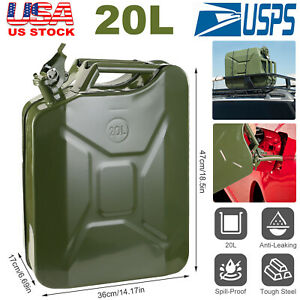 5 Gal 20l Jerry Can Gasoline Fuel Can Metal Tank Emergency Backup Splash proof
