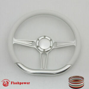 14 D Type Billet Steering Wheel White Half Wrap Gmc Trucks Cutlass