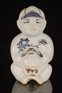 Antique Vintage Chinese Multicolored Hand Painted Porcelain Statue Figure