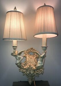 Vintage Ornate Metal Sconce Victorian Angels Double Arm Wall Light Mid Century