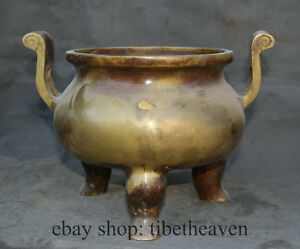 11 Old Chinese Bronze Copper Ming Dynasty Incense Burner Censer Xuande Marked