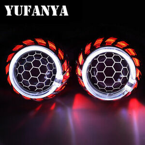 2 5 Honeycomb Hid Bi Xenon Projector Lens Led Angel Eyes Fit H1 H4 H7 Headlight