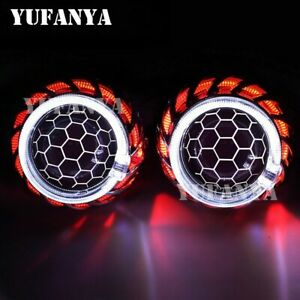 2 5 H1 Mini Hid Bi xenon Projector Lens Halo Red blue Angel Eyes Fit H4 H7 Car