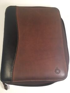 Franklin Covey Full grain Brown Leather Classic Planner Binder Organizer Zip
