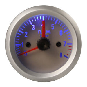 2 0 8000rpm Blue Light Auto Car Tachometer Tach Gauge With Holder Cup 52mm Us