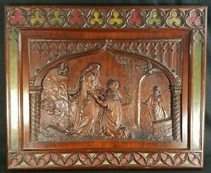 Antique English Continental Hand Carved Wood Walnut Religious Bas Relief Panel