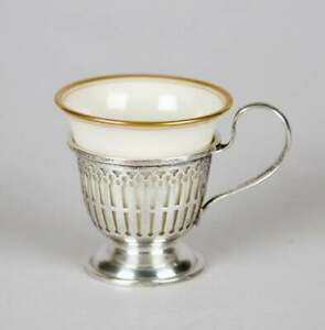 Mauser Sterling Silver Reticulated Demitasse Cups With Lenox Fine China Liners
