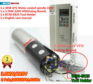 3kw 220v Atc Water Cooling Spindle Motor Cnc Milling W Bt30 Tool 3 7kw Inverter