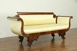 Empire Antique 1825 Acanthus Carved Mahogany Sofa Recent Upholstery 31579