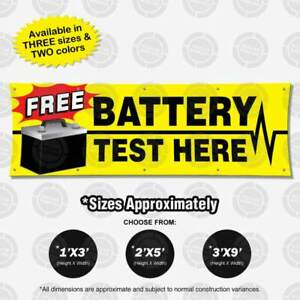 Free Battery Test Here Banner Automotive Sign Mechanic Display Shop Poster Check