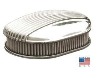 12 Oval Polished Fully Finned Air Cleaner For Ford Chevy Dodge razorback
