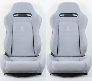 2 X Tanaka Gray Micro Cloth Racing Seats Reclinable Sliders Fit For Honda A