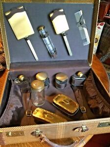 Antique Art Deco Dressing Vanity Box In A Suitcase With 11 Items In It1920 30 S