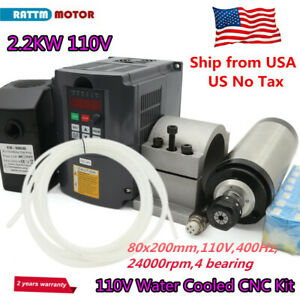 usa 2200w Water Cooled Spindle Motor 2 2kw Inverter 110v clamp pump collet Cnc