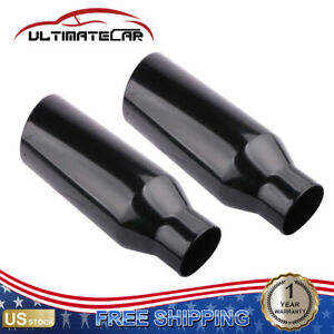 Pair Black Stainless Steel Weld on Exhaust Tip 2 5 Inlet 4 Outlet 12 Length