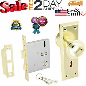 Door Brass Locks Antique Vintage Hardware Set Knob Mortise 2 1 4 In Handle Entry
