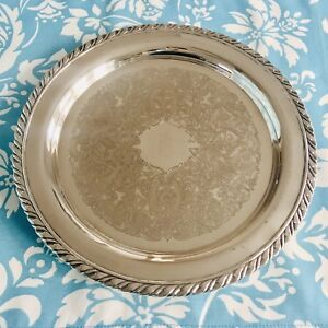 Oneida Tray Silver Monogramed With A B Round 10 Inches Vintage