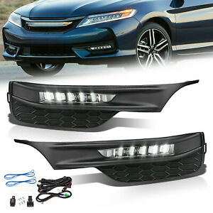 Fits 16 17 Honda Accord Sedan 4dr Led Fog Lights Kit With Bezel Switch Wires