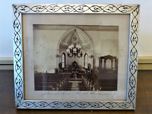 Antique 19th C Silver Gilt Carved Wood Frame Nj Church Sepia Photo