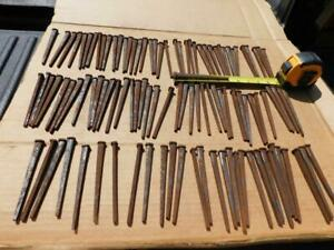 Antique Vintage 5 Square Cut Nails Lot Of 109 5 Nails Spike Nos Home Carpentry