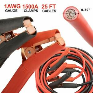 Bunker Indust 1500a Booster Jumper Cables 1 Gauge 25ft Heavy Duty Battery Cables