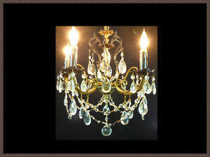 Vintage Antique Brass Chandelier Vintage Crystals Black Accents Gorgeous Lqqk