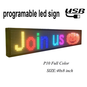 Programmable Led Sign 40 X 8 Outdoor P10 Rgb Full Color Smd Led Scrolling For