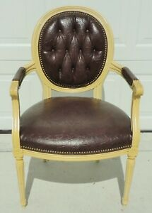 Antique Vtg Tufted Leather Brass Stud Balloon Back Desk Dining Accent Arm Chair