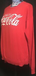 Enjoy Coca-Cola Coke Red Medium Stitched Sweater 100% Cotton