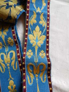 Vintage Gorgeous Woven Wide Ribbon Trim Blue Gold Burgundy 3 5 X 149