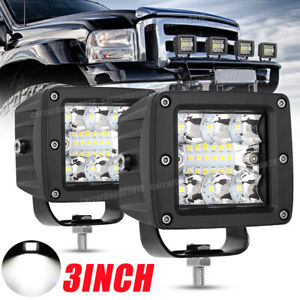 Pair 3inch 120w Cree Led Work Light Cube Pods Driving Work Fog Spot Light Flood