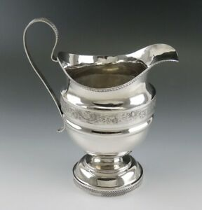 Antique C1825 American Coin 900 Silver Milk Pitcher Large Creamer 6 1 2 255g