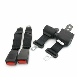 Pair For Chevy 2 Point Seatbelt Strap Retractable Safety Belt Buckle Clip Black