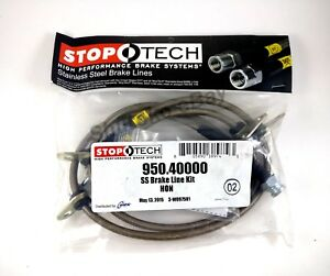 Stoptech Stainless Steel Braided Front Brake Lines For 90 91 Honda Crx