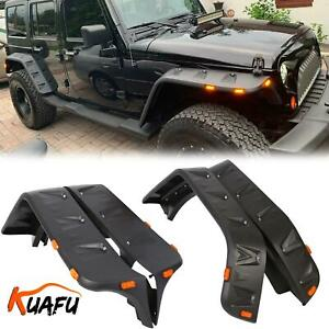 For 07 18 Jeep Wrangler Jk Pocket Rivet Style Smooth Fender Flares W Led Side