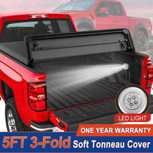 5ft Tri Fold Truck Bed Tonneau Cover For 15 19 Chevy Colorado Wt Lt Gmc Canyon