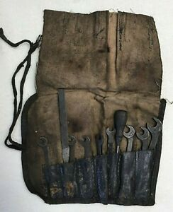 Vintage Antique Ford Chevy Ignition Wrench Kit Pouch Tools Auto 10 Tools