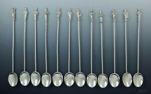 Set Of 12 Antique Dutch 833 Purity Silver Apostle Iced Tea Spoons Stirrers