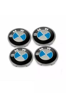 4x Carbon Car Wheel Rim Center Cap Badge Hub Stickers Decal 4pcs 68mm Fit Bmw